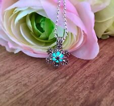 """Winter Snowflake with Glow in the Dark, Glittery""""Materia"""" Orb Locket Necklace"""