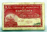 Spain-GUERRA CIVIL. Billete. 1 peseta 1937. Consejo municipal de Caravaca