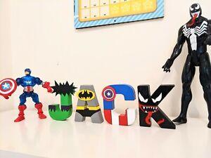Childrens Mini letters Bedroom door shelf Avengers Marvel superhero boys kids