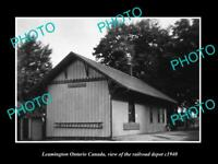 OLD POSTCARD SIZE PHOTO OF LEAMINGTON ONTARIO CANADA THE RAILROAD DEPOT c1940
