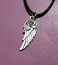 Feather Angel Wing Rose Two Sided Antique Silver Pendant Adjustable Necklace