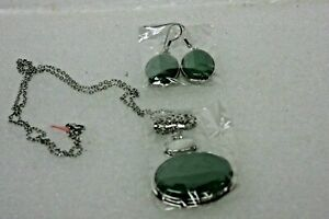 JTV GREEN STONE PENDANT WITH EARRINGS SET BRAND NEW