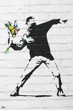 Banksy Flower Bomber Throwing Flowers Graffiti Art Poster 24x36 inch