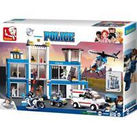 SlubanKids Police Station,Helicopter, Motorcycle, Dog,Building Blocks 540 pc set