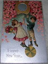 Vintage New Year Victorian Children on Clock Pendulum Postcard