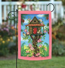 Toland Chickadee Birdhouse 12.5 x 18 Colorful Spring Bird Flower Garden Flag