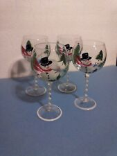 Set/4 Hand Painted Glass Goblets Snowman by Culinary Arts - #25013740 NEW