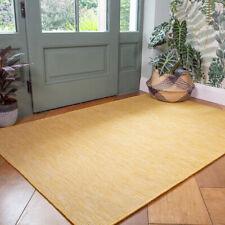 Plain Yellow Outdoor Rug Plastic Flat Washable Rugs Zero Pile Garden Patio Mats