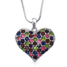 Multi Color Heart Pendant Necklace Valentine's Day Birthday Jewelry GIFT BOX