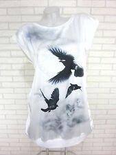 NEU Damen Satin Tunika SHIRT Bluse T-Shirt Weiß Gr. 44 (W605)