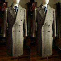 Men Wool Herringbone Overcoat Long Outwear Double-breasted Wide Lapel Suits