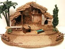 "FONTANINI DEPOSE ITALY 5"" 6PC LARGE STABLE w/BASE NATIVITY VILLAGE CRECHE 50540"