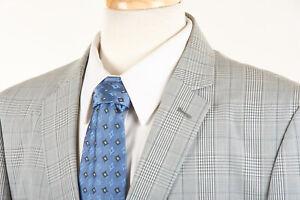JOHN VARVATOS STAR USA Sport Coat 44 R Cloud Gray Glen Plaid Unstructured Cotton