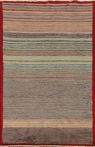 Striped Gabbeh Kashkoli Oriental Area Rug Hand-knotted Modern Home Decor 3'x5'