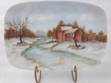 Hand Painted Plate Country Scene cabin stream woodland creek snow