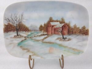 Country Scene Plate cabin stream woodland creek snow Hand Painted Vintage R1