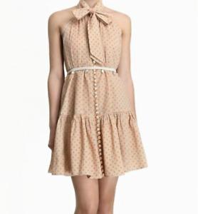 Zimmermann Size 1 S Peggy Yellow Cotton Polka Dot Dress Bow Shell Belt Halter