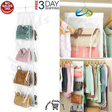 Handbag File Purse Organizer Hanger Closet Display 8 Pocket Storage Rack Clear
