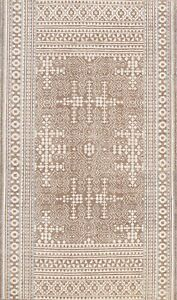 NEW Geometric Oriental Area Rug Oushak Hand-knotted Wool 5x8 Brown Foyer Carpet