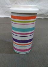 "Mr Coffee  6"" Tall Ceramic Tumbler Cup w/ Lid horizontal line multicolor stripes"