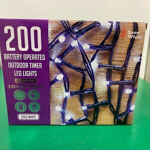 200 Outdoor Battery Operated LED Lights Cold White Christmas Fairy Lights
