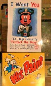 Security Mickey & Wet Paint Donald Duck Cast Member Sign Prop Lot Disneyland WDW
