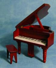 GRAND PIANO AND STOOL, WOODEN MAGHOGANY COLOURED. df106