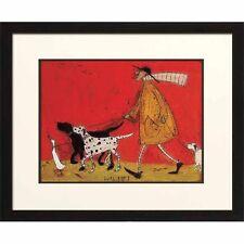 "Whimsical Art Print ""Walkies"" by Artist Sam Taft - IC43039 - Dogs Duck Painting"