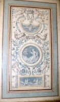 antique original 1700's Italian fresco design figural gouache drawing painting
