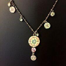 PILGRIM Sparkly Pastel Pink Green Necklace Danish Costume Jewellery Flower Boho