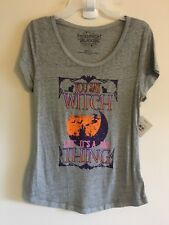 Junior Womens Sz M You Say Witch Like It's A Bad Thing Halloween Shirt Gray #H