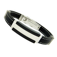 GN- Men's Fashion Stainless Steel Rubber Black Wristband Bangle Clasp Cuff Brace