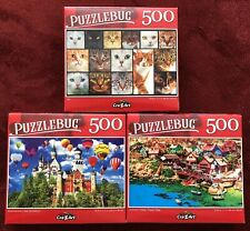 "Lot A: 3 Cra-Z-Art Puzzlebug 500 Piece Jigsaw Puzzles 18.25"" x 11"" Brand New"