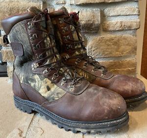 CABELAs Iron Ridge Sz 15D Thinsulate Ultra Gore Tex Camoflauge Hunting Boots EUC