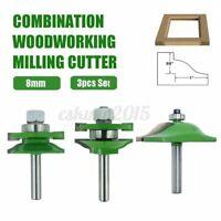 3pcs 8mm Tungsten Carbide Shank Router Sealed Rail Stile Woodwork Cutter Bit Set