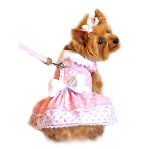 Doggie Design Pink Polka Dot & Lace Dog Dress & Matching Leash   XS-S-M-L