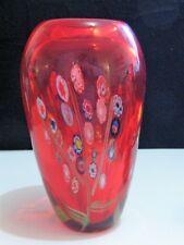 Heavy Red Murano Italian Multi Colored Millefiori Art Glass Vase