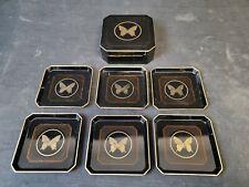Vtg Otagiri Papillion Japan Black Lacquerware Set of 6 Coasters in Box Butterfly