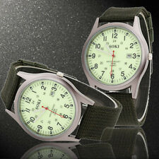 Fabric/Canvas Band Men's Round Watches with 12-Hour Dial