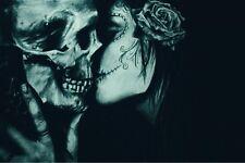 "skull dark kisses gothic abstract art Poster Silk Fabric Print decor 24×36"""