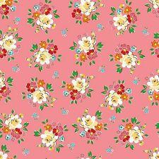 Main Backyard Roses C5290 Pink Riley Blake Designs Nadra Ridgeway Retro Floral