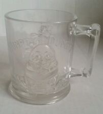 """Vintage Humpty Dumpty / Tom Tom the Piper's Son Pink Glass Mug Cup 3.5"""" Tall"""