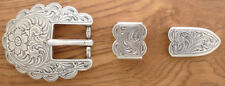 Western Equestrian Tack (2) Silver Scalloped Bridle/Halter Buckle Sets 3/4""