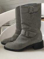 Chanel Mid-calf Gray Sueded Leather Biker Moto Riding Boots 38.5