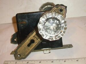 Antique Victorian Glass door knob set, turn Lock insert & door plates.  NO KEY