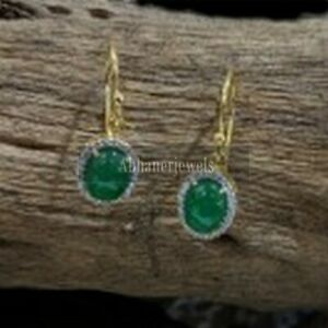 Sleeping Beauty Emerald Earring 925 Sterling Victorian Pave Dimond Birthday gift