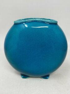"Vintage Robertson Hollywood California Art Pottery Blue Crackle Vase 4.5"""