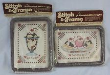 Vintage Pair Stitch & Frame Cross Stitch Kits Hot Fudge and Banana Split Desert