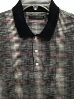 Men's Greg Norman Play Dry Black Beige Red Plaid Polo Golf SS Shirt  Size M EUC!