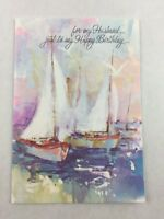 Vintage Husband Birthday Card Rust Craft Sailboat Impressionist New Made in USA